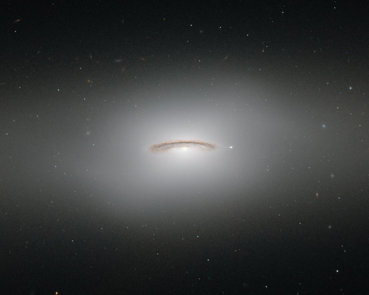 NGC 4526. Её мощное свечение создаёт иллюзию безмятежного острова в тёмном океане Вселенной. Это одна из самых ярких линзовидных галактик! Однако красота бывает обманчива: в её центре находится огромная чёрная дыра, массой в 400 миллионов наших Солнц. А ещё в ней мы наблюдали два известных случая взрывов сверхновых — в 1969 и 1994 годах.