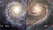 Comparison between M74 and M51