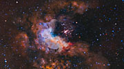 Flight through star cluster Westerlund 2 - slow