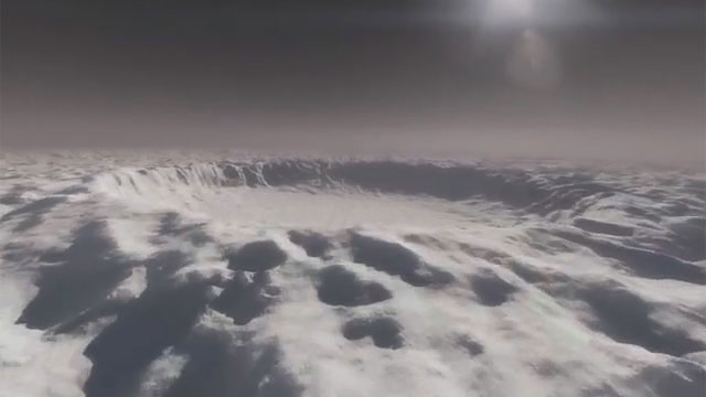 Flight over a crater of an Extrasolar planet