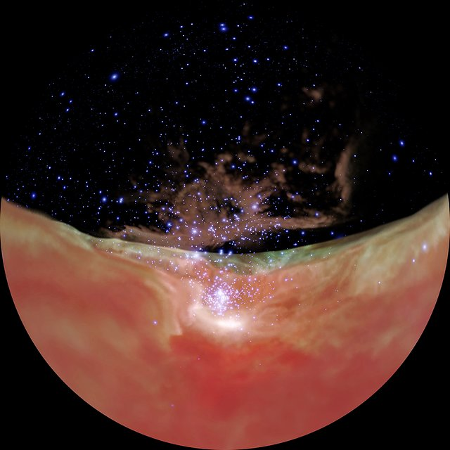 Flight through the Orion Nebula in infrared light — dome version
