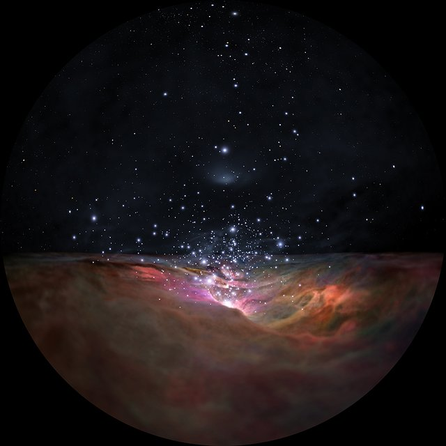 Flight through the Orion Nebula in visible and infrared light — dome version