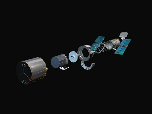 The NASA/ESA Hubble Space Telescope, assembled and in an exploded view