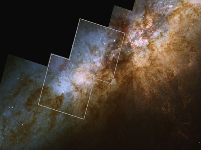 Zooming further into M82, blending to infrared observations revealing more than 100 super star clusters hiding behind the dust lanes