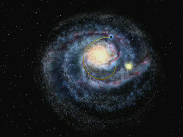 A black hole streaking through the Milky Way (artist's impression)