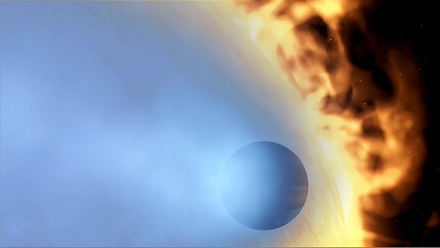 Evaporating extrasolar planet, from Video (artist's impression)