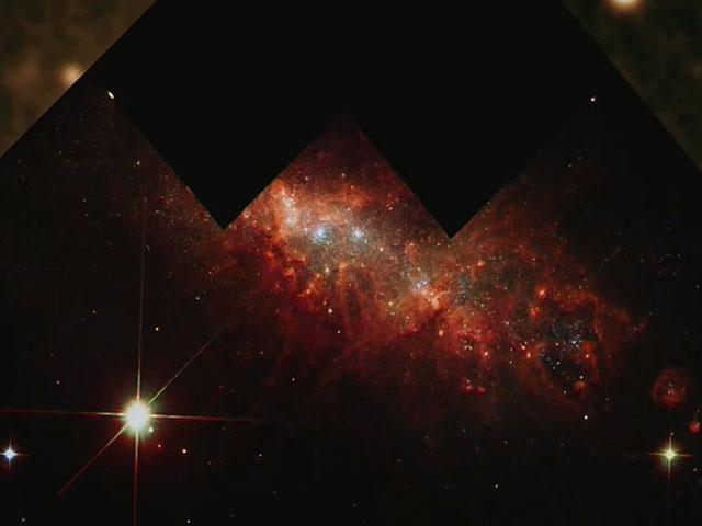 Zoom on starburst galaxy NGC 1569