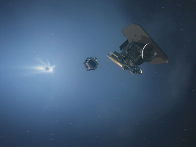 Deep Impact spacecraft passing and releasing the impactor (artist's impression)