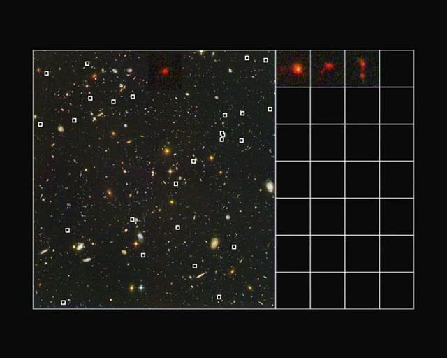 Extracting close-ups of 28 young distant galaxies