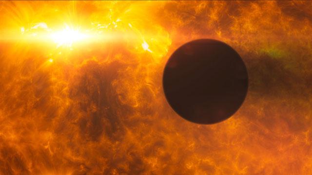 HD 189733b transits its parent star during stellar flare (artist's impression)
