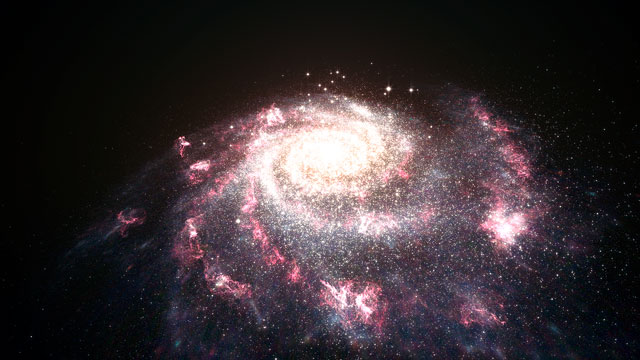 Animation of a starburst galaxy (artist's impression)