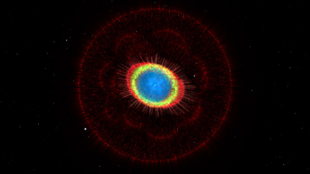 Fly-around and zoom into the Ring Nebula (3D)