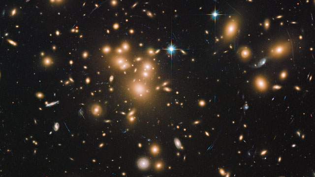 Pan across galaxy cluster Abell 1689