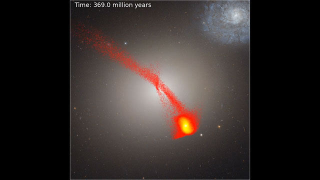 Video simulation showing artist's impression of dwarf galaxy M60-UCD1's formation