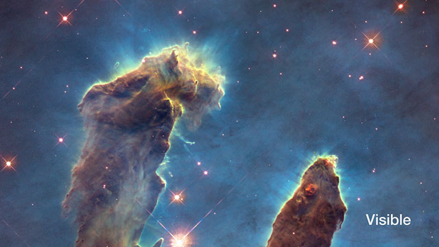 The Pillars of Creation — fade from visible to infrared