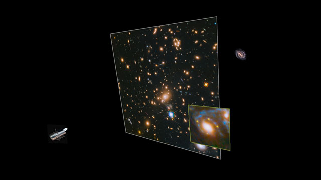 Animation showing how Hubble spotted four images of the same supernova