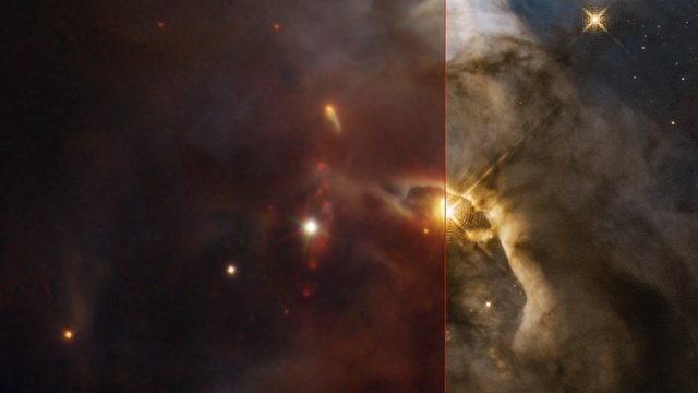 Serpens Nebula from the ground and from space