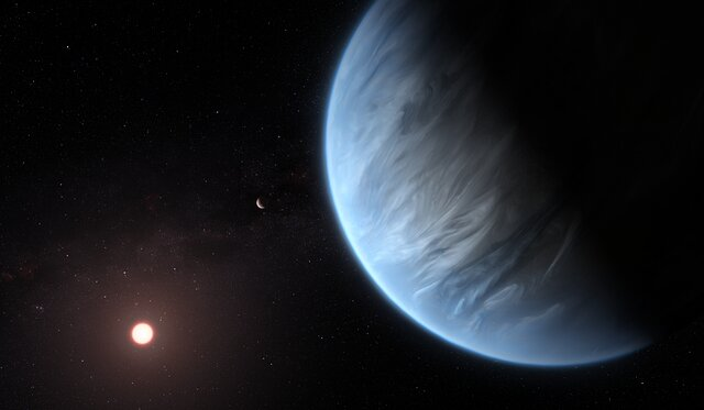 Animation of Exoplanet K2-18b (Artist's Impression)