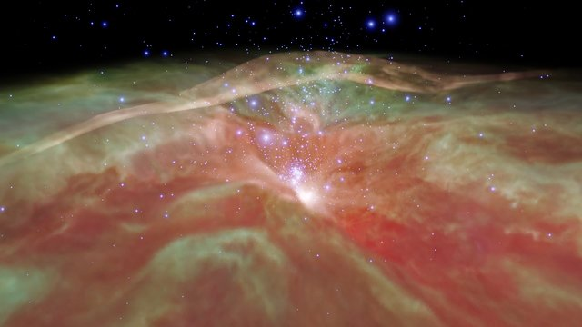 Flight through Orion Nebula in infrared light