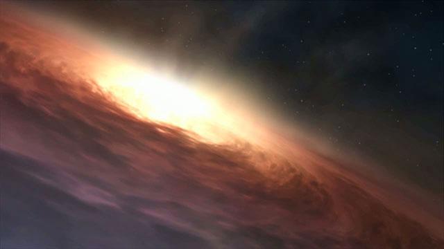 Matter accreting around a supermassive black hole (artist's impression)
