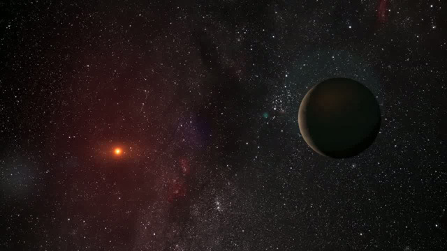 Planet orbiting a red dwarf star (artist's impression)